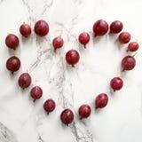 Gooseberry. Heart in Gooseberry stock photo