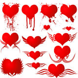 Heart gothic blood. Illustrated heart shapes with different variation of gothic and blood splats Stock Photography