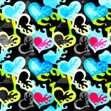 Heart graffiti on a black background seamless pattern vector illustration Royalty Free Stock Images