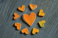 Heart of grapefruit peel Stock Photography