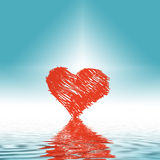 Heart graphic. Graphic of red heart reflecting off surface of blue water Stock Images