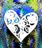 Heart. Graphic arts. Drawing. Colorful. Colors. Heart, love, valentine, red, abstract, blue, shape, pink, white, decoration, illustration, day, symbol, romance Stock Photo