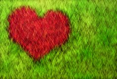 Heart on grass Stock Photography