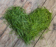 Heart of grass. Heart made by blades of grass on a wooden table stock images