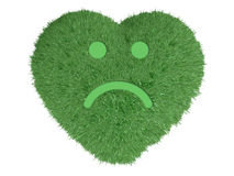 Heart with grass and sad smile Stock Photos