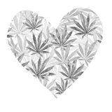 Heart of gray cannabis sativa leaves Royalty Free Stock Image
