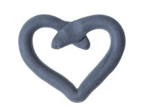 Heart from gray plasticine Royalty Free Stock Photography