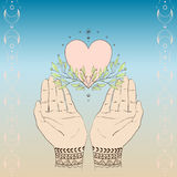 Heart and green branches Royalty Free Stock Photos