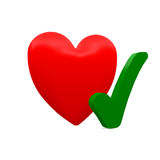 Heart. With a green checkmark Stock Images