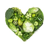 Heart of green fruits and vegetables royalty free stock photo