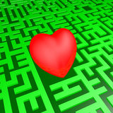 Heart in green labyrinth Royalty Free Stock Image