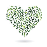 Heart from green leaves vector Royalty Free Stock Photography
