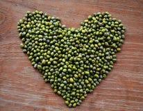 Heart Green mung beans Royalty Free Stock Photo