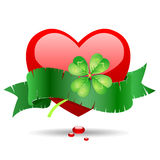 Heart with green ribbon. Stock Image