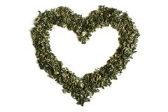 Heart from green tea. Isolated on a white background Royalty Free Stock Photos