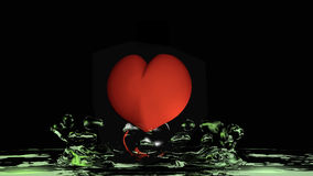 Heart with green water. 3d illustration on black background vector illustration
