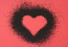 Heart from ground coffee Royalty Free Stock Image