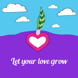 Heart grow from the ground with two green leafs, let your love grow, sky with white clouds on background. Heart grow from the ground with two green leafs, let Royalty Free Stock Images
