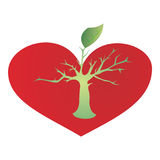 Heart and growing tree. A vector illustration, growing tree with leaves from tree red heart Royalty Free Illustration