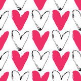 Heart grunge seamless pattern on white background. Hand drawn Royalty Free Stock Image