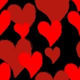 Heart grunge style seamless pattern. Symbol of love brush textur Royalty Free Stock Photo