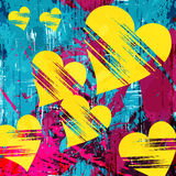 Heart and grunge texture abstract pattern psychedelic graffiti Royalty Free Stock Photos