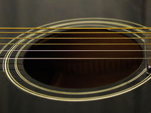 Heart of a Guitar. Detail of a black guitar Stock Image