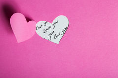 Heart Half-Cut From Pink Paper Royalty Free Stock Photo