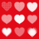 Heart halftone dots set  Stock Photos