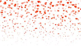 Heart halftone Valentine`s day background. Red transparent hearts on white. Vector illustration Stock Photos