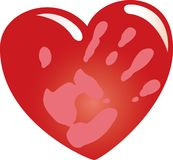 Heart with Hand. A red heart with a hand imprint on it, isolated on a white background Stock Image