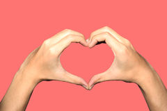Heart hand clipping paths. Make your hand like heart Stock Photography