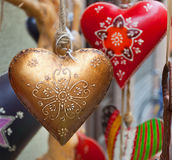 Heart hand decorated in Christmas style. Heart hand decorated in Christmas style photographed in the Christmas market in Bolzano, Italy Royalty Free Stock Image