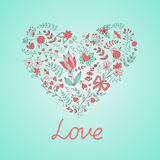 Heart. Hand draw romantic heart wiht flowers in Doodle style royalty free illustration