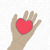 The heart by hand drawn.,.  Royalty Free Stock Photo