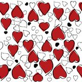 Heart hand drawn pattern on white background . Vector illustration. Heart red and black hand drawn seamless pattern on white background . Vector illustration Royalty Free Stock Images