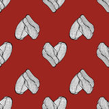 Heart hand drawn on red pattern . Vector illustration. Royalty Free Stock Photos