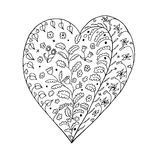 Heart Hand drawn sketched  illustration. Doodle heart graphic with ornate pattern. Design Isolated on white Stock Photography