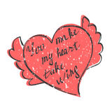 Heart and Hand drawn slogan Stock Image