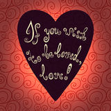 Heart with hand drawn typography poster. Romantic lettering quote save the date card. Stock Photos