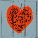Heart with hand drawn typography poster Royalty Free Stock Photos