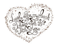 Heart with hand drawn typography poster. Vintage romantic quote for valentines day card or save the date card. Royalty Free Stock Photo