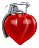 Heart hand grenade Royalty Free Stock Images