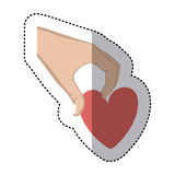Heart in the hand icon. Image,  illustration Stock Photo