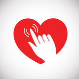 Heart with hand icon, Stock Photo
