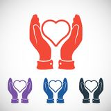 Heart in hand icon, vector illustration. Flat Royalty Free Stock Photo