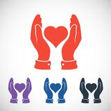 Heart in hand icon, vector illustration. Flat Royalty Free Stock Image
