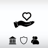 Heart in hand icon, vector illustration. Flat design style Royalty Free Stock Photography