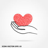 Heart hand icon. Heart hand on a white background Stock Image