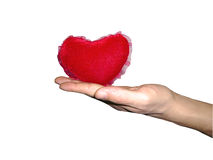 Heart in hand isolated. Clipping path for photoshop, with path, for designer Royalty Free Stock Photo